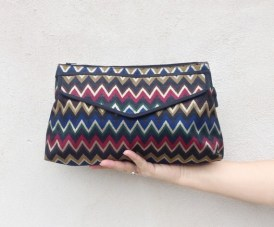 original MISSONI pochette / Vintage envelope handbag / italian designer purse / chevron gold blue bag