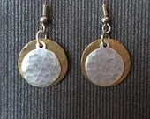 Hammered Brass and Silver Earrings