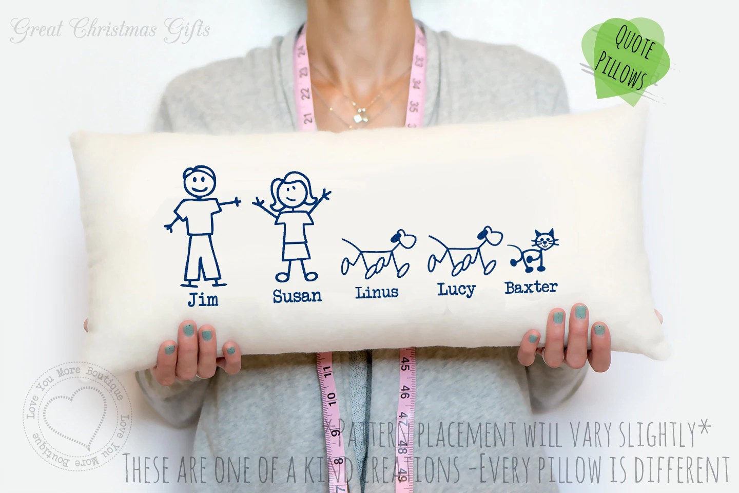 2 Year Cotton Anniversary Gift Stick Figure Family Pillow