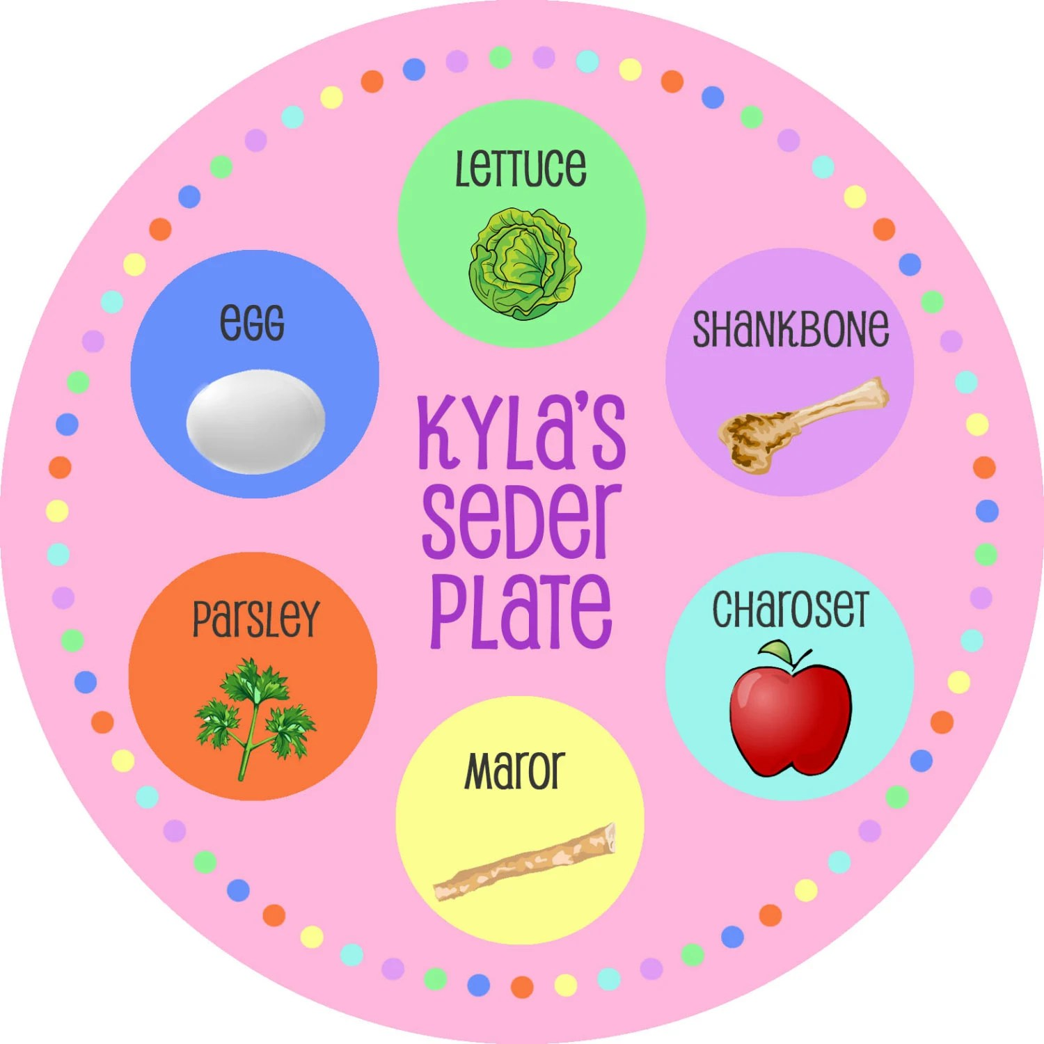 Personalized Seder Plate You Pick Color