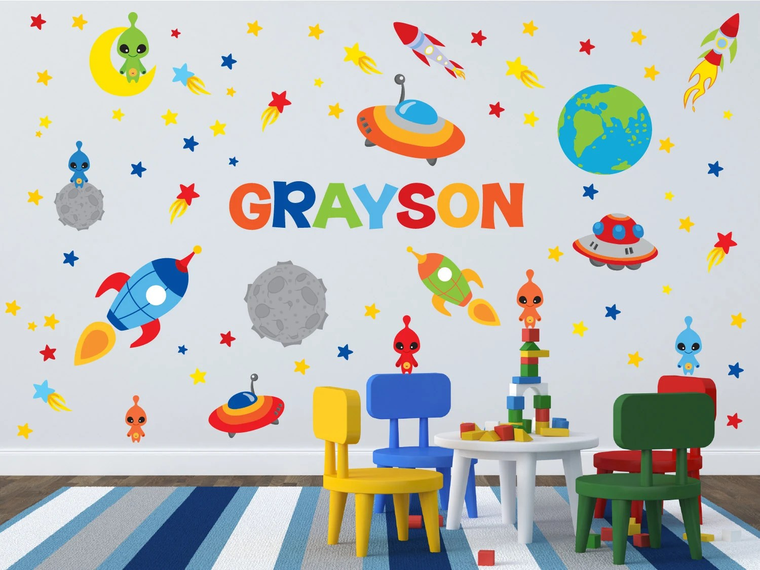 Space Theme Wall Decals Outer Space Room Name Wall Decal