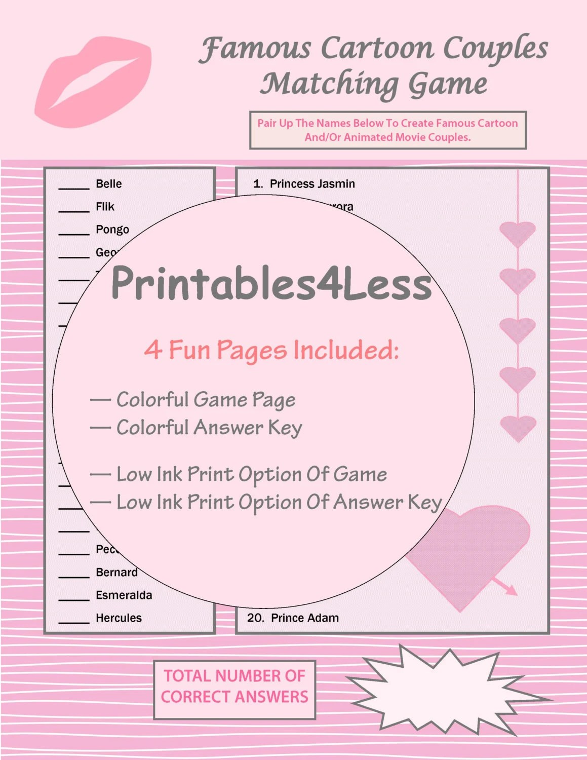 Couples Matching Game Valentine Couple Game Printable