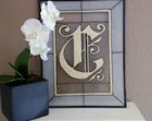 """Personalized Monogram Initial Letter """"C"""" Hand Painted Stained Glass Art"""