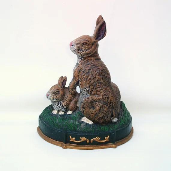 Vintage Rabbit Doorstop Cast Iron Door Stop Easter Bunnies