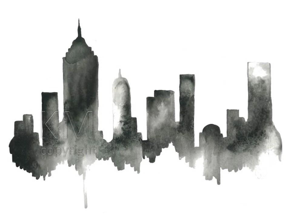 New York City Skyline Print Watercolour Wall Art Modern