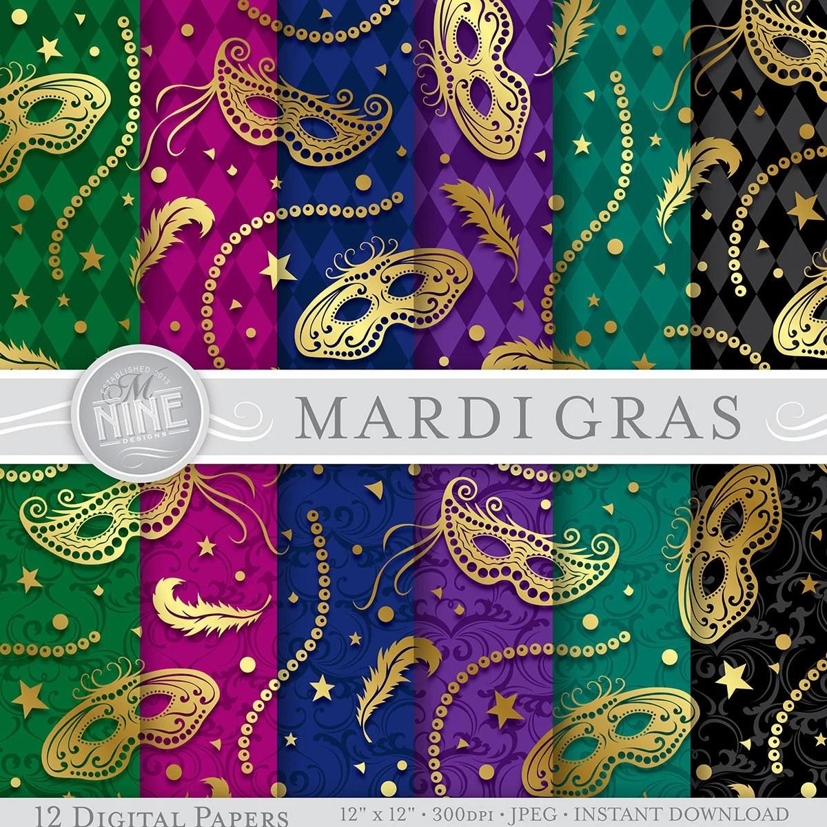 Mardi Gras Digital Paper Gold Mardi Gras Masks Printable