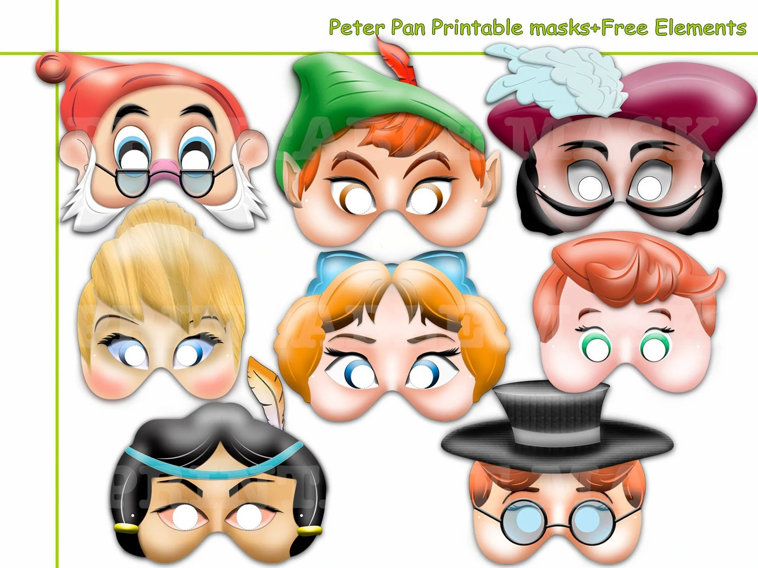 Unique Peter Pan Printable Masks Collection Costumes Wendy
