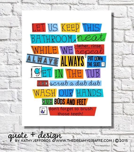 bathroom wall decor kids bathroom rules boys bathroom wall art