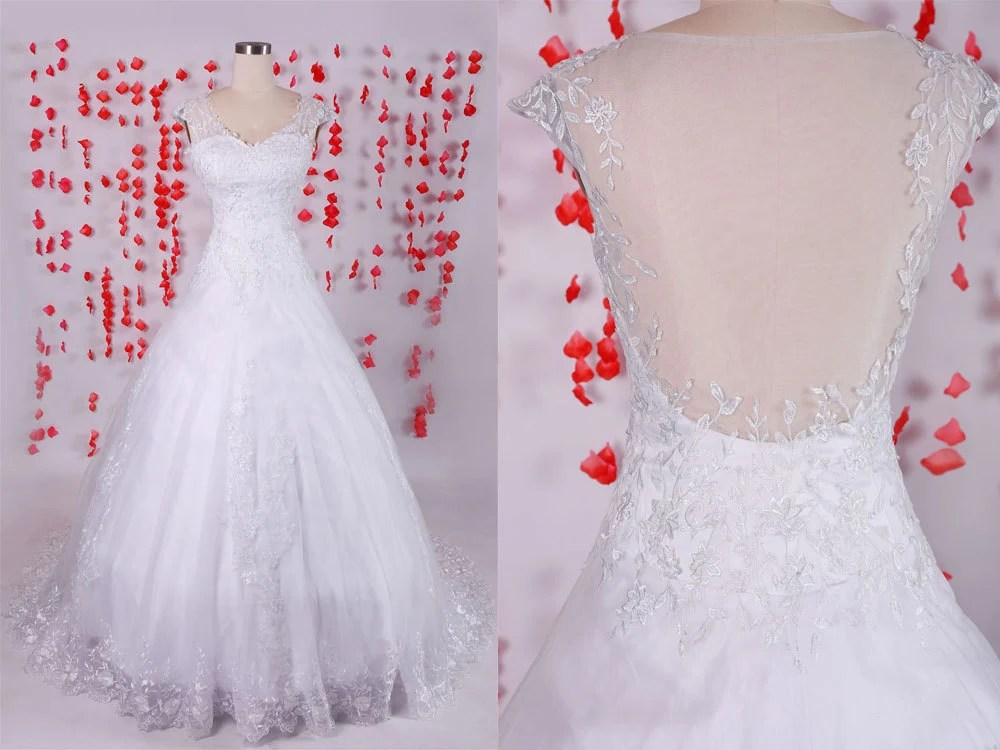Elegant Cap Sleeves Sweetheart White A-line Tulle By