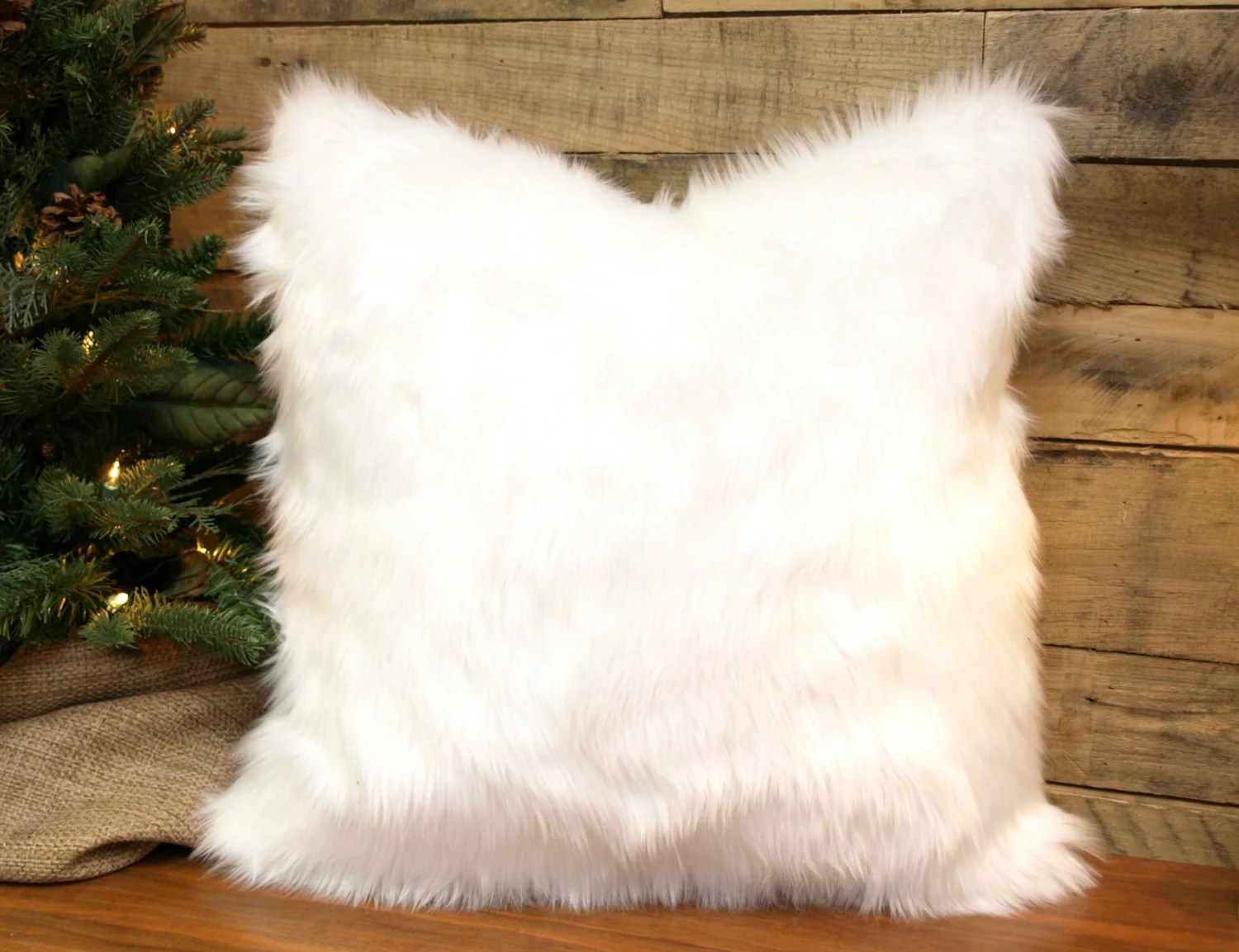 Faux Fur Pillow Cover Winter White Throw Pillow Chenille