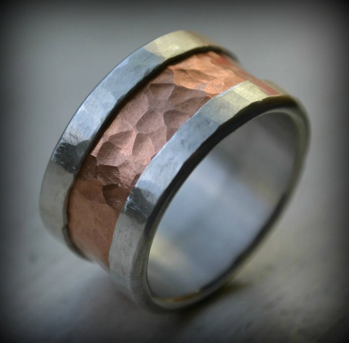 Mens Wedding Band Fine Silver And Copper Ring Wide Band