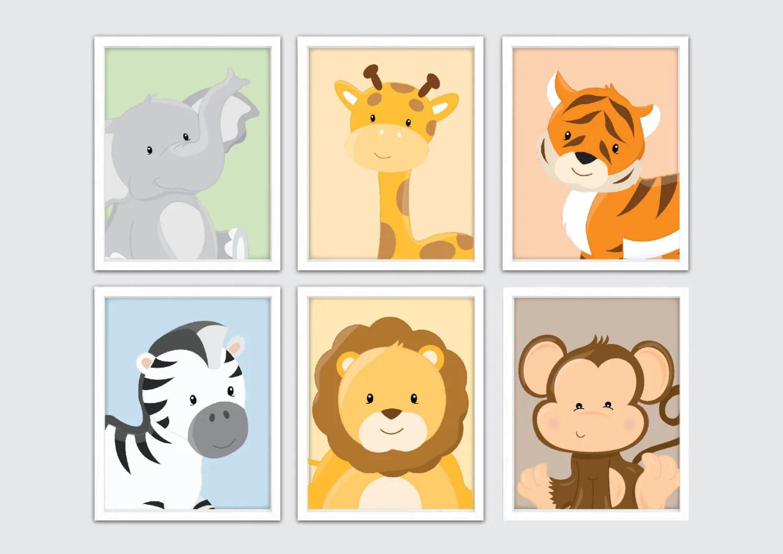 Baby Animal Prints Jungle Nursery Wall Decor Zoo Animals