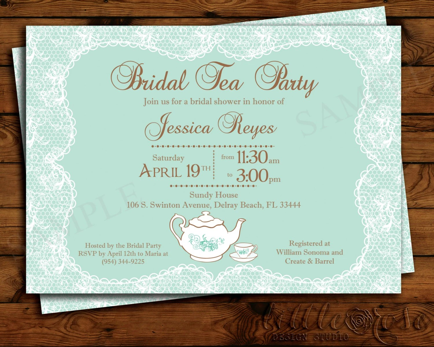 High Tea Bridal Shower Invite Wording Tea Party Invitation Baby