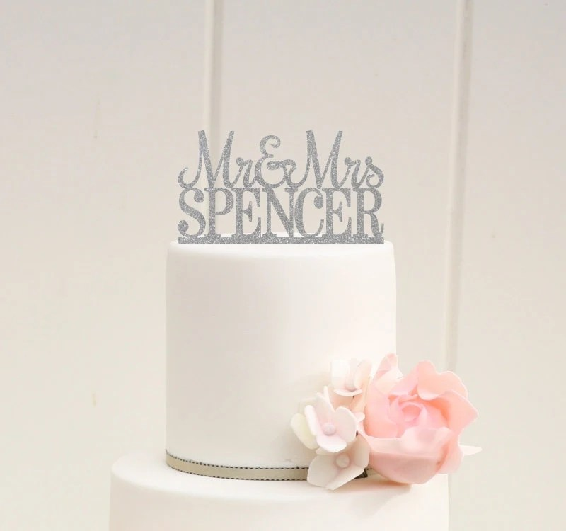 Glitter Wedding Cake Topper Mr And Mrs Topper Design With YOUR