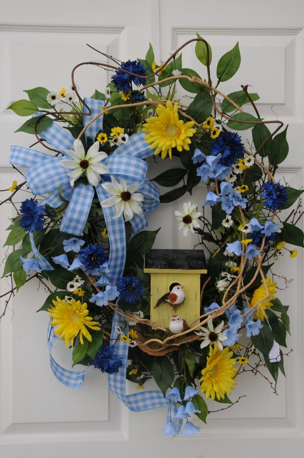 SpringSummer Wreath With Birdhouse Spring Wreath Summer