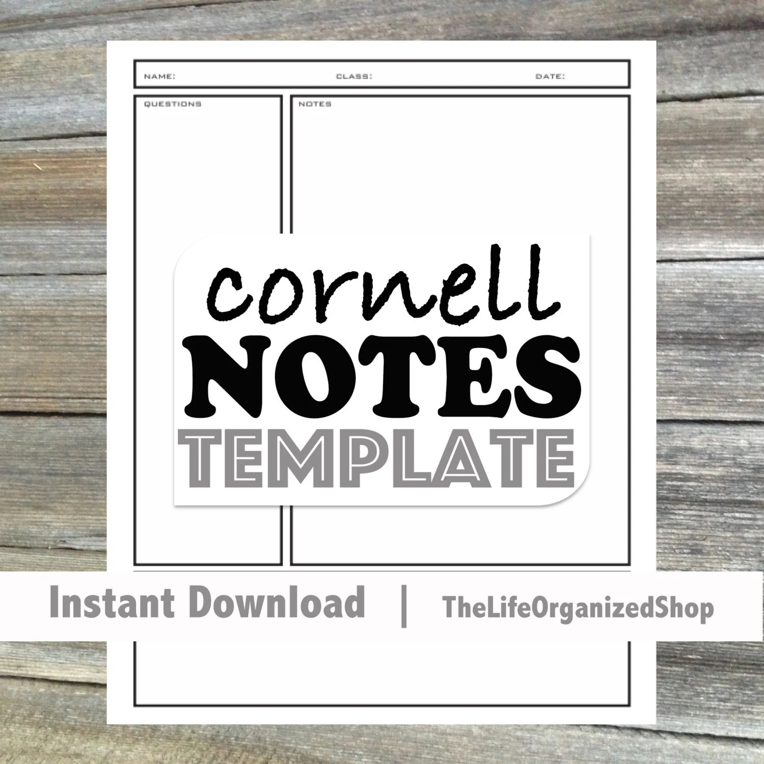 Cornell Notes Template Student Notes Note Taking Cornell
