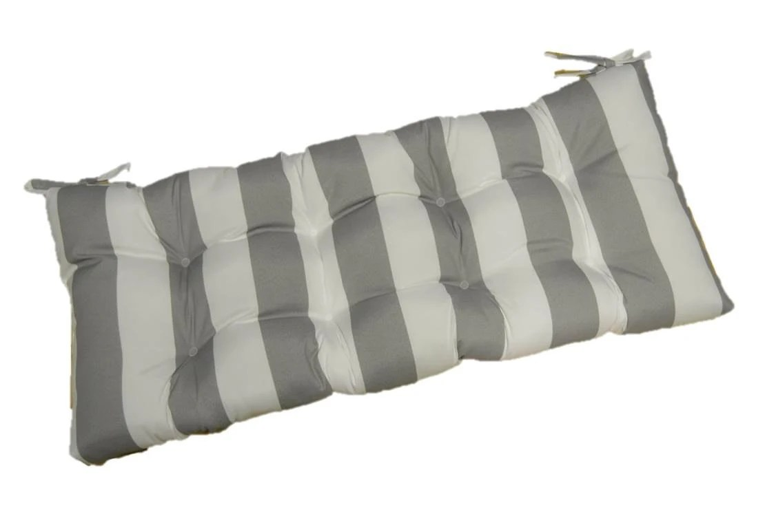 Indoor / Outdoor Gray / Grey And White Stripe Tufted Cushion