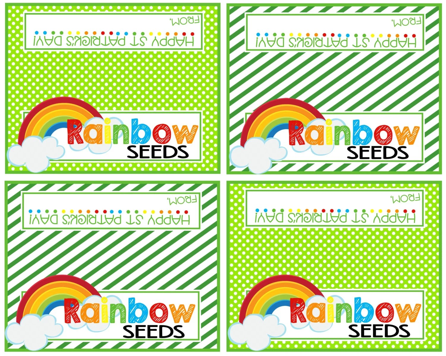 Printable St Patrick S Day Bag Toppers Rainbow Seeds