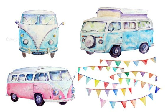 Hand Painted Watercolor Camper Vans Blue And Pink And Buntings