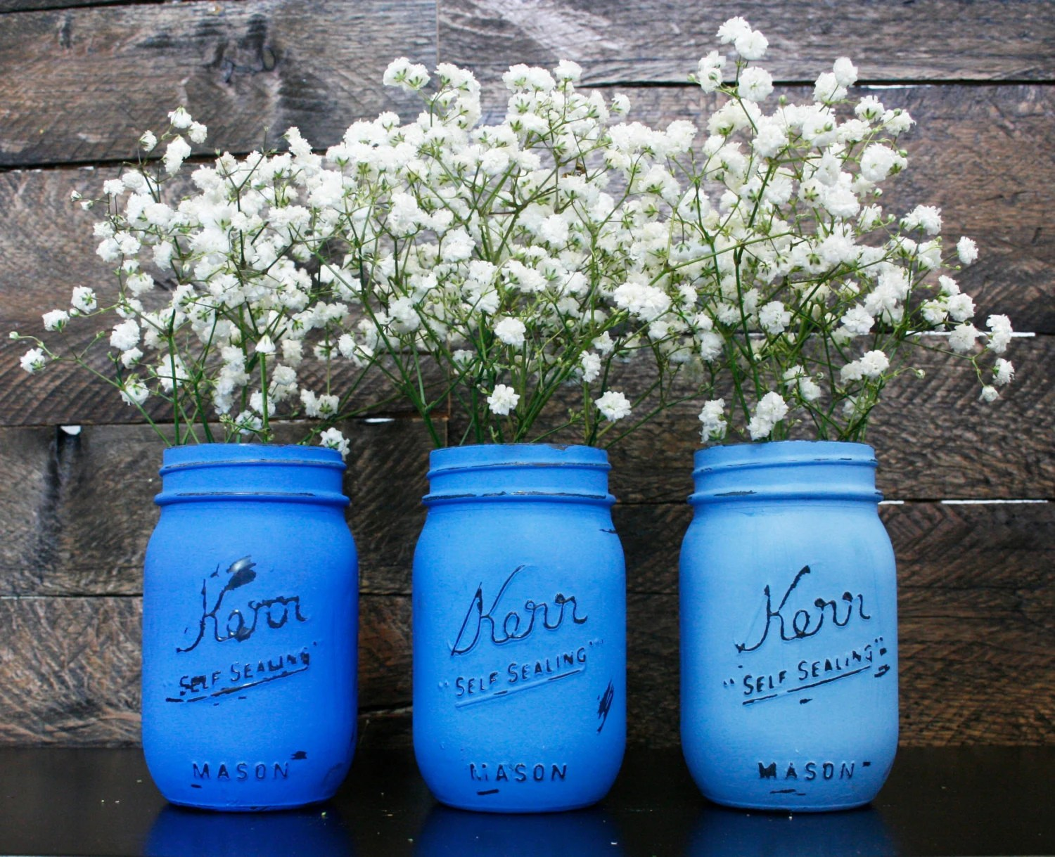 Blue Ombre Painted Mason Jars Set Of 3 Wedding Centerpiece