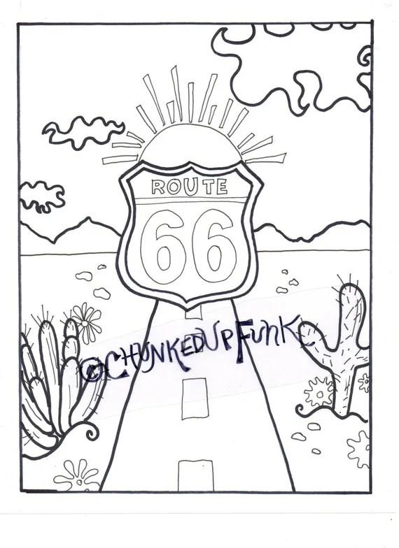 Printable Coloring Page Route 66 Arizona Texas Santa
