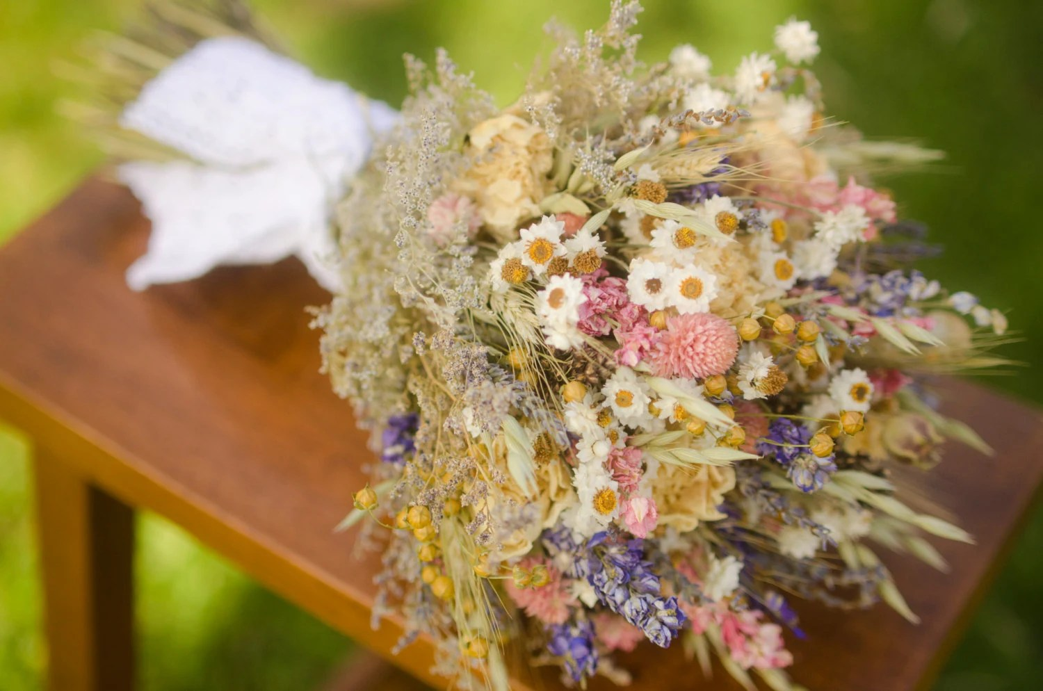 Spring Wildflower Bridal Bouquet Pink And By