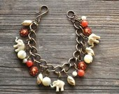 Vintage Elephant Double Good Luck Charm Bracelet in Persimmon Red and Ivory - Vintage Assemblage