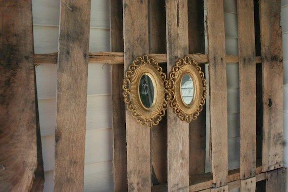 Set Of Two Vintage Gold Ornate Shabby Chic Framed Mirrors