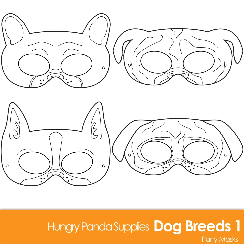 Dog Breed Printable Coloring Masks Boston Terrier Mask Pug