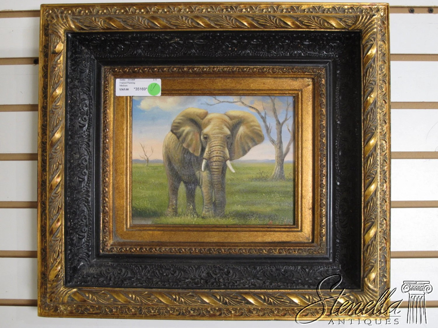 V35169E: Black And Gold Framed Oil Painting On Canvas Old
