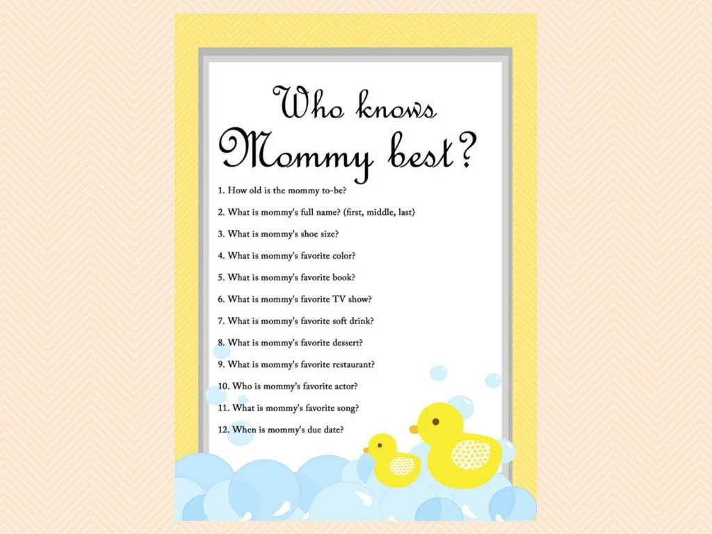 Who Knows Mommy Best Baby Shower Game Printable