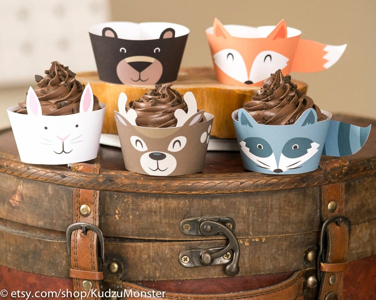 Woodland Animals Cupcake Wrappers Printable Fox Black Bear