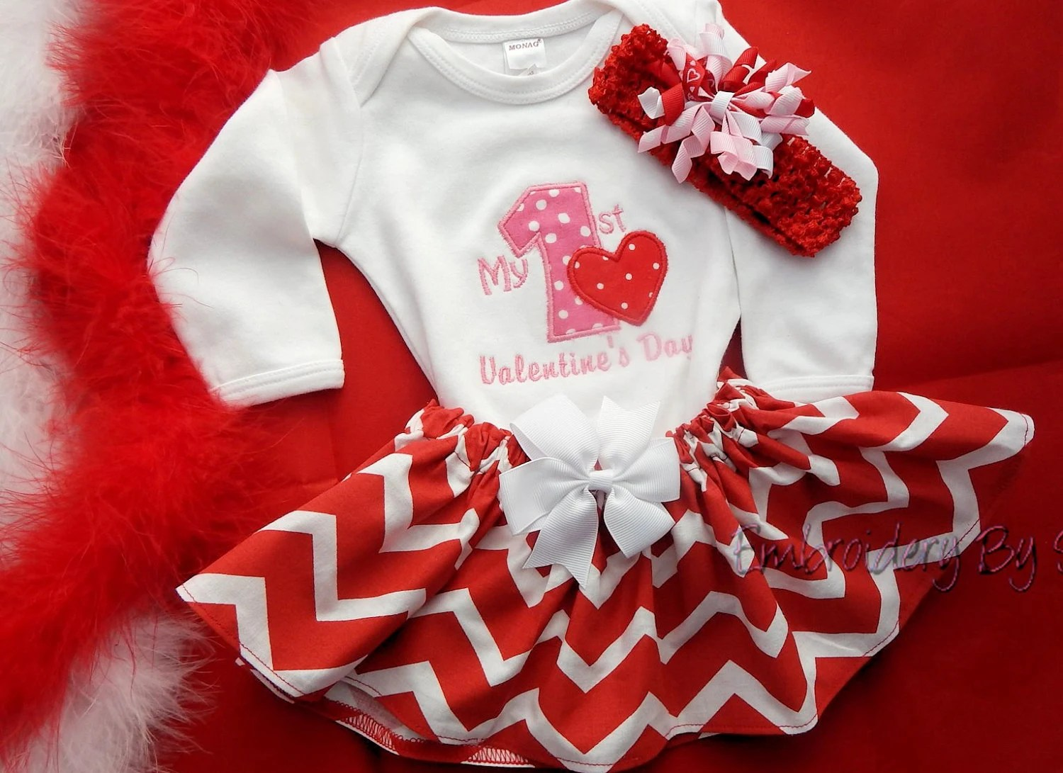 Baby Girls First Valentines Day Outfit By EmbroiderybySharon