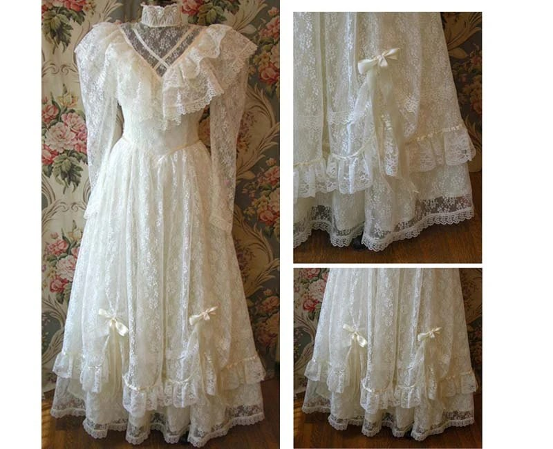 Wedding Gown Vintage 80s 1980s Jessica McClintock All Lace
