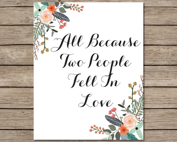 Download All Because Two People Fell In Love Printable INSTANT