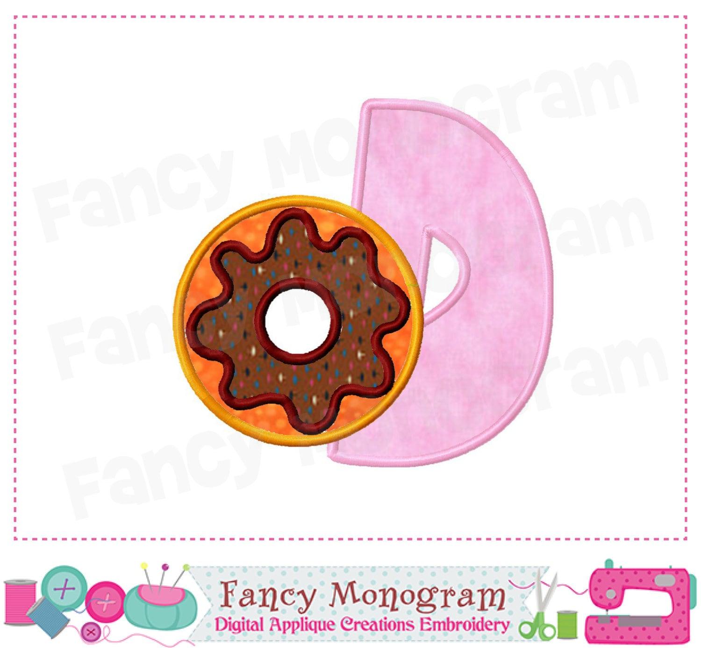 Donut Monogram D Appliquedonut Letter D By Fancymonogram