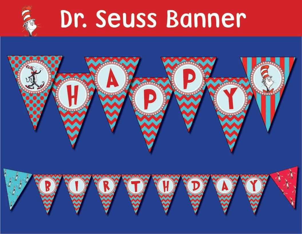 Dr Seuss Cat In The Hat Banner Printable Digital File All