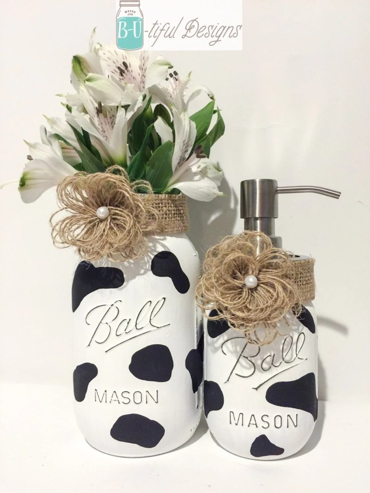 Cow Kitchen Decor Hand Painted Mason Jar Vase Soap