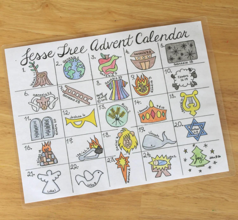 Printable Jesse Tree Advent Calendar By Navymango On Etsy