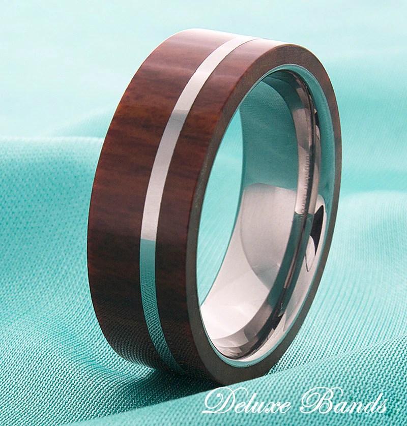 Wood Inlay Mens Tungsten Wedding Ring Tungsten Wood Band Mens