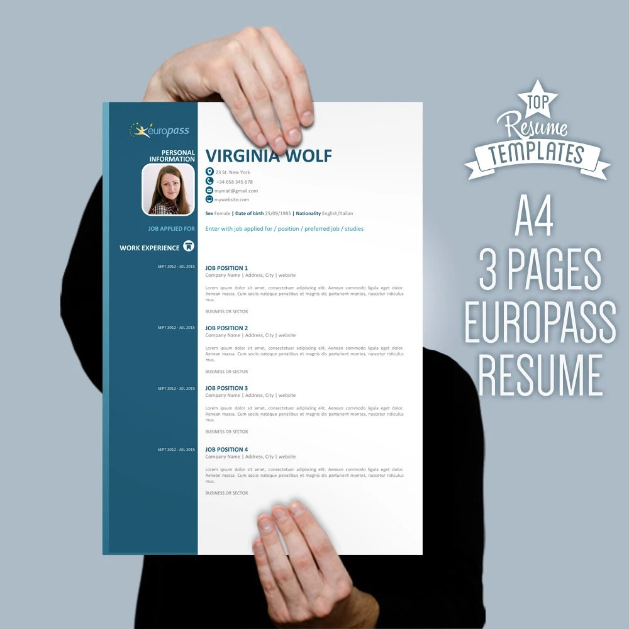 curriculum vitae template europass modern cv design 3 page resume cv