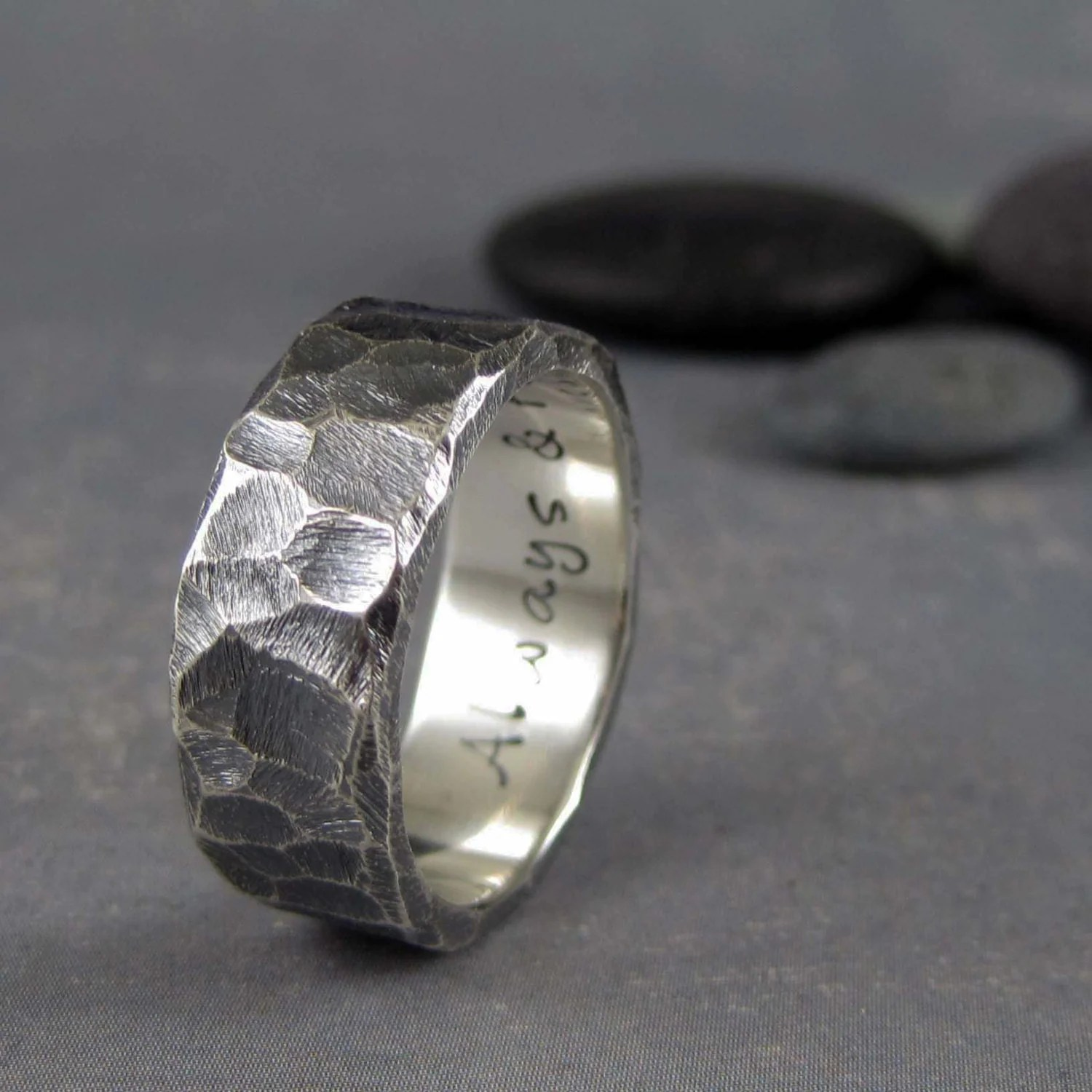 Rustic Mens Wedding Band Custom Engraved 8mm Rough Hewn