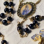 Blessed Virgin Cameo Indulgence Pardon Crux Black ocean pearl rosary paryer beads