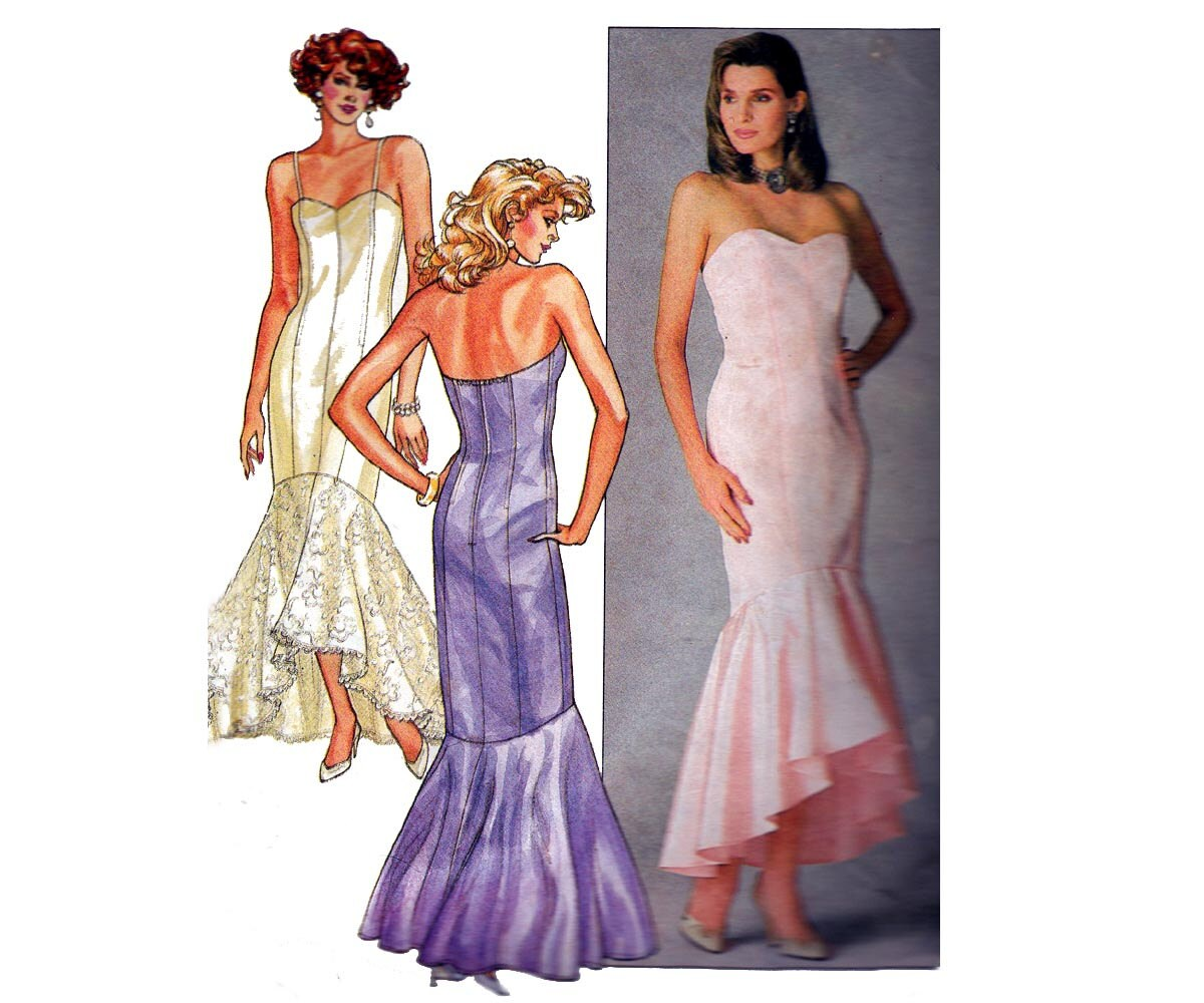 80s Mermaid Prom Wedding Dress Pattern By Allthepreciousthings