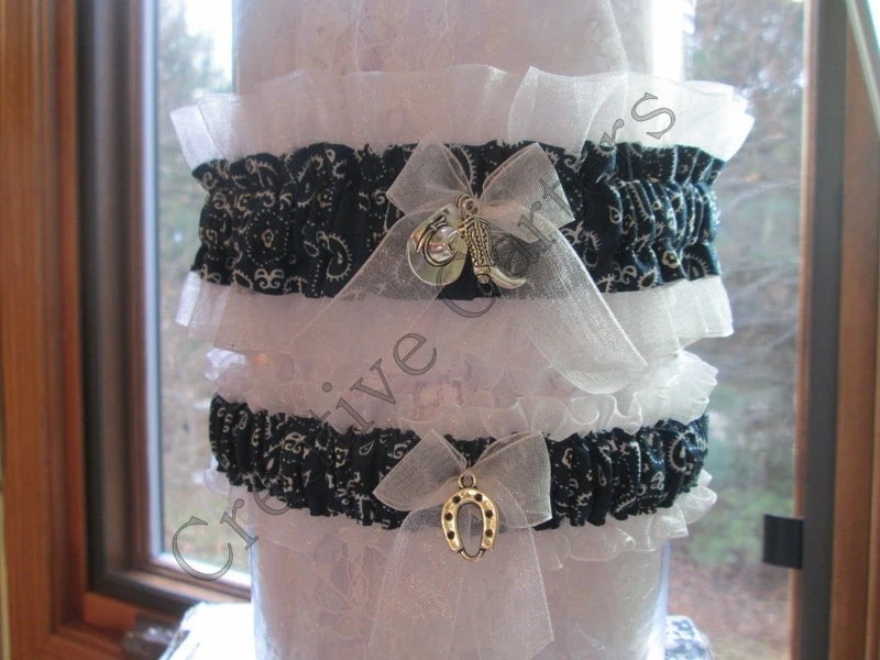 Country & Western Wedding Garter Set Rustic By CreativeGarters