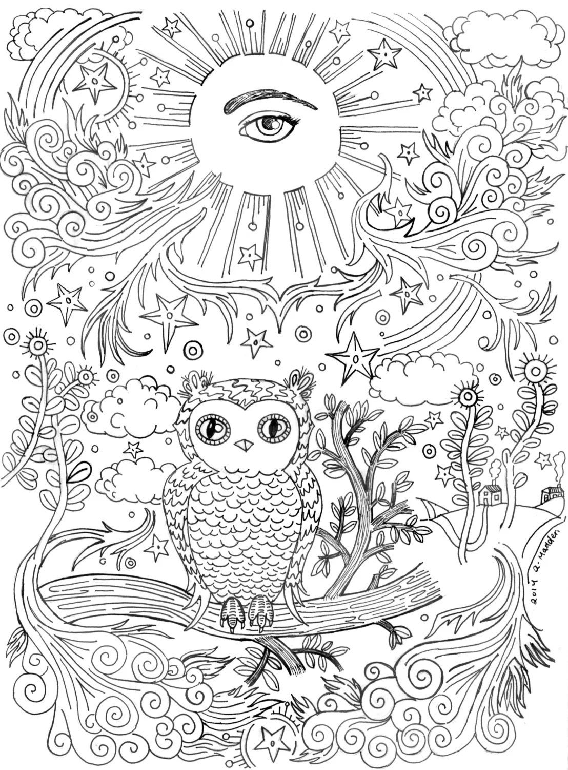 Coloring Book Page All Seeing Eye With Owl On A Branch