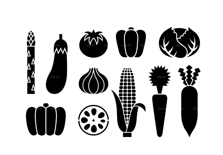 Vegetable Silhouette Digital Clipart Vector Eps Files
