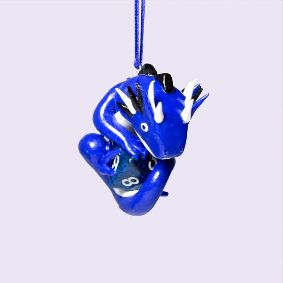 Blue Hanging Dragon Dice Holder with Black and White Details