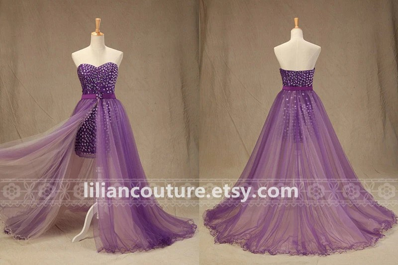 Purple Crystals Beaded Detachable Train Sexy By LilianCouture