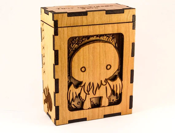 Cthulhu Personalized Trading Card Game Box Engraved Cherry Wood